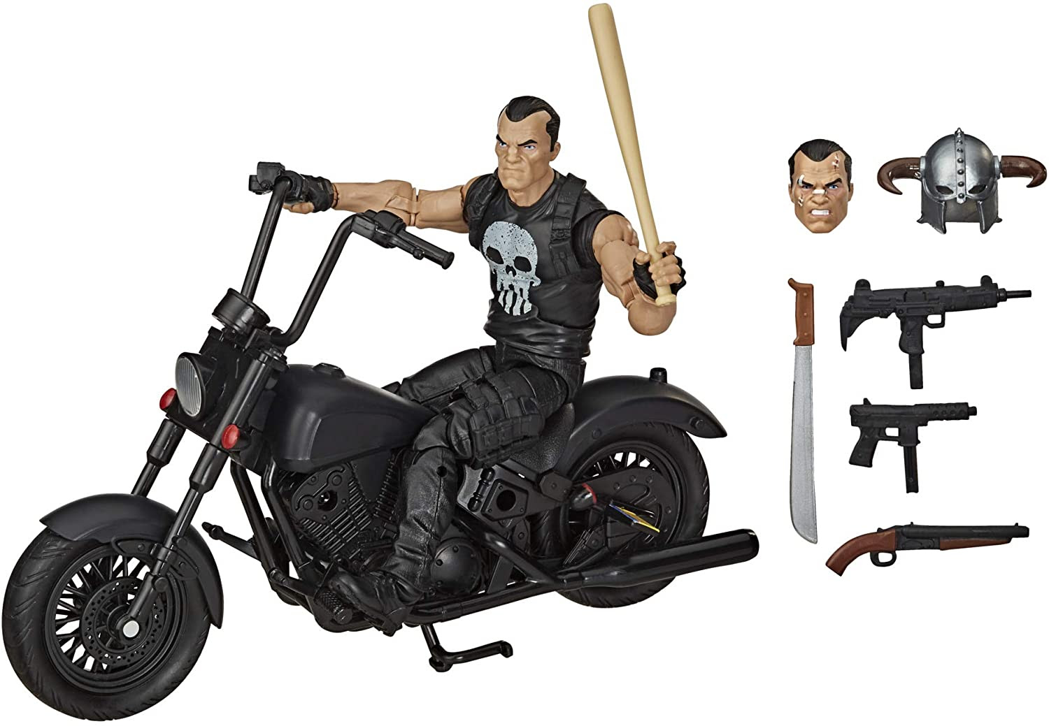 Image of Hasbro Marvel Legends Series 6-inch Collectible Action Figure The Punisher Toy and Motorcycle, Premium Design and 7 Accessories