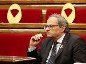 """""""Tal día como hoy, hace un año, se proclamó políticamente la república catalana"""", expresó Torra desde el Palau del Gobierno de Cataluña."""