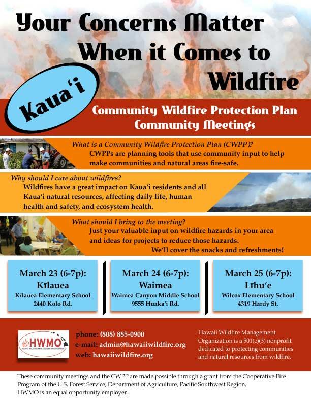 Kauai Wildfire flier