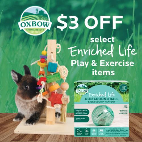 Oxbow small animal is offering $3 OFF select play & Exercise toys