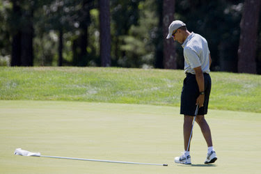President Obama during a round of golf on Aug. 7 at the Farm Neck Golf Club in Oak Bluffs on Martha's Vineyard.