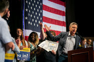 Gary Johnson, the Libertarian nominee for president, at a rally in Manhattan on Saturday. The Union Leader of New Hampshire has endorsed him.