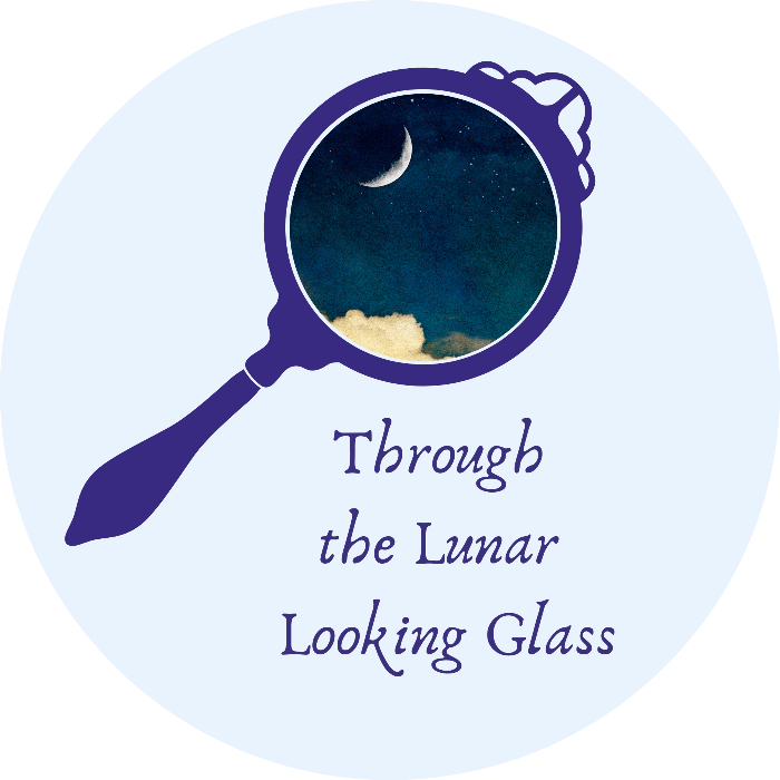 Blue text with 'through the lunar looking glass' under a blue hand mirror with the image of a night's sky a cloud and a sliver of a moon.