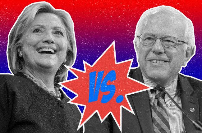 picture of Hillary versus Bernie