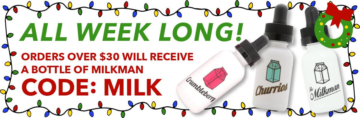 All Week Long! Orders Over $30 Will Receive A Bottle Of Milkman. CODE: MILK