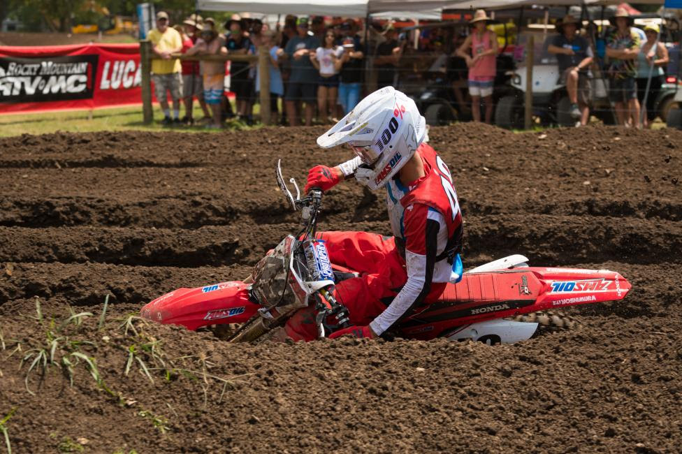 Jett Lawrence clinched the 250 Pro Sport moto one win yesterday.