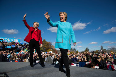 Hillary Clinton with Senator Elizabeth Warren during a campaign rally at Saint Anselm College in Manchester, N.H., on Monday.<br /><br />
