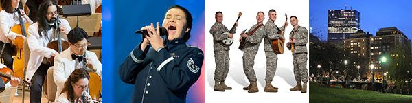 [Boston Pops, Singing Sergeants, Six-String Soldiers, Boston Common]
