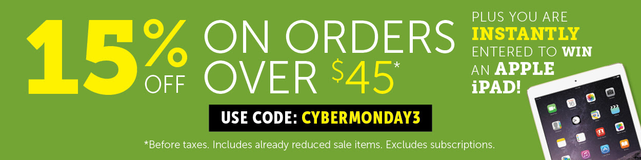 Cyber Monday 15% OFF on orders over $45!
