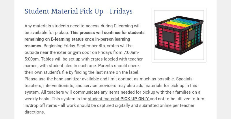 Student Material Pick Up - Fridays