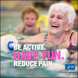 The figure above is a photograph showing two women engaging in water aerobics. The phrases: 'Be active. Have fun. Reduce pain.' caption the image.