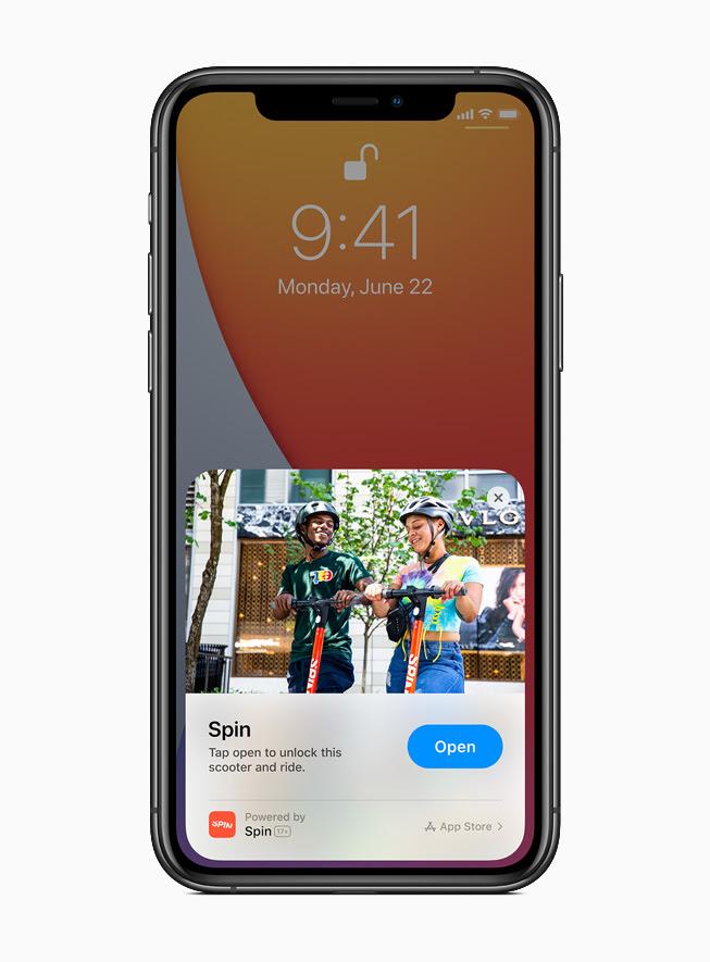 iPhone 11 Pro 上顯示來自 Spin app 的App Clip。