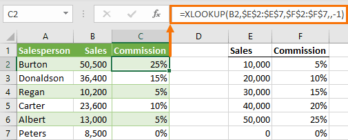 XLOOKUP approximate match