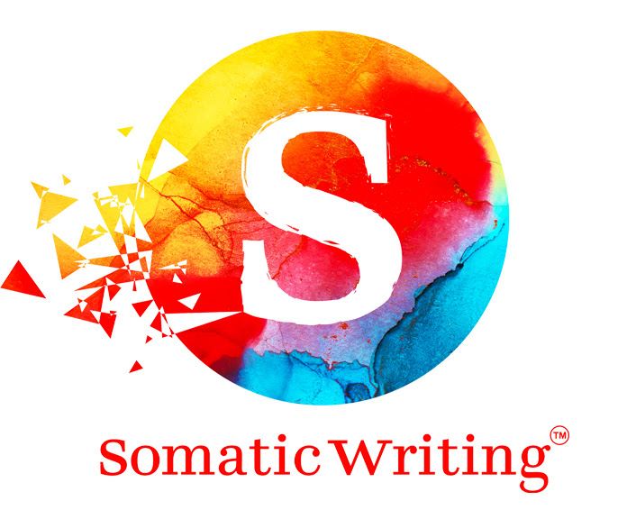 red text with words somatic writing under a logo with an S with a circle behind it with pieces breaking out of it all in yellow, red, and blue colors.