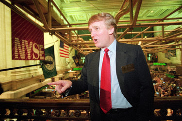 Donald J. Trump at the New York Stock Exchange in June 1995.