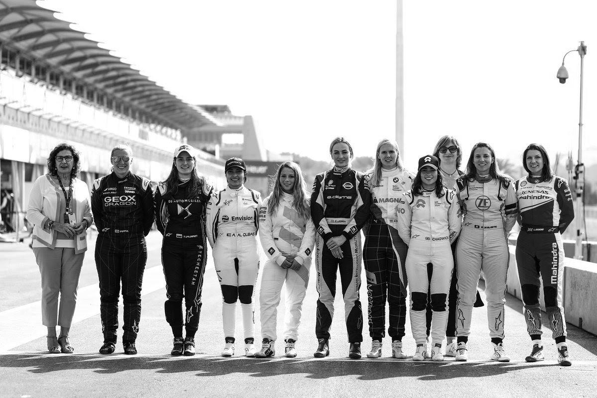 Female drivers at the Formula E test in Saudi. Photo: FIA Women in Motorsport