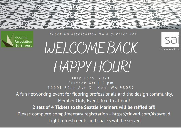 Flooring Association Northwest: Surface Art Happy Hour Members only @ Outdoors @ Surface Art
