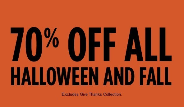 70% off all halloween and fall