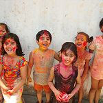 Enjoying Holi Festival of Colours