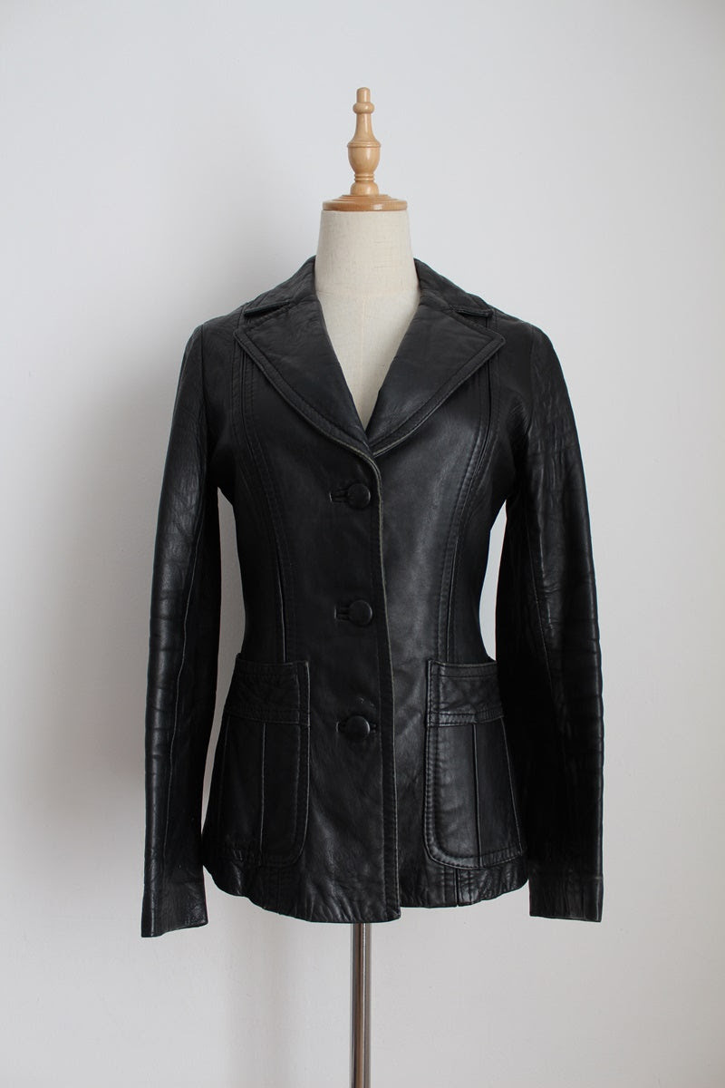 VINTAGE GENUINE LEATHER BLACK FITTED JACKET - SIZE 6