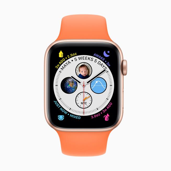 Apple Watch Series 5 螢幕中顯⽰的 Glow Baby app。