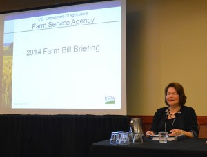 Judith Canales, Texas state executive director for the U.S. Department of Agriculture-Farm Service Agency, discusses upcoming 2014 farm bill deadlines at the Ag Forum in Austin. (Texas A&M AgriLife Extension Service photo by Blair Fannin)