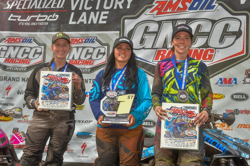 Katelyn Osburn (center), Megan Shepherd (left) and Alicia McCormick (right) rounded out the WXC ATV class podium.