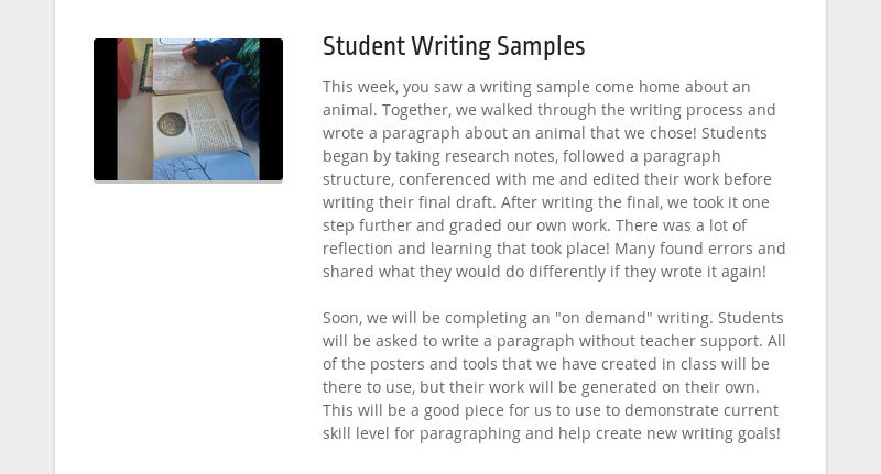 Student Writing Samples This week, you saw a writing sample come home about an animal. Together, we...