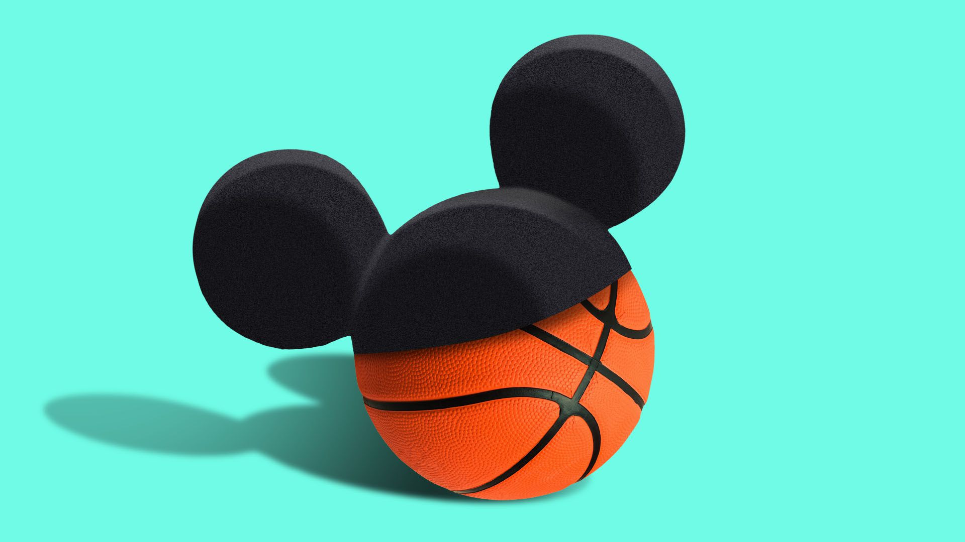 Illustration of a basketball wearing a mickey mouse ear hat