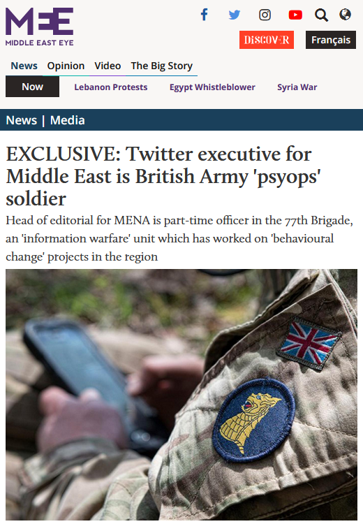 Middle East Eye: Twitter executive for Middle East is British Army 'psyops' soldier