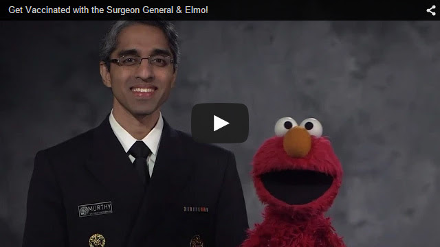 YouTube Embedded Video: Get Vaccinated with the Surgeon General and Elmo!