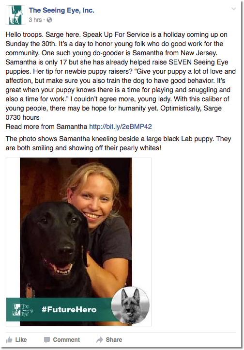 Image of the Facebook post where Sarge tells us young puppy raiser Samantha and Speak Up For Service Day