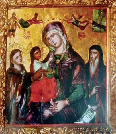 Εικόνα που δείχνει επάνω δεξιά το θαύμα του Αγίου Γερασίμου στη ναυμαχία της Ναυπάκτου. Βρίσκεται στον Ι.Ν. Θεοτόκου Λουτριώτισσας στην Σάμη Κεφαλληνίας.