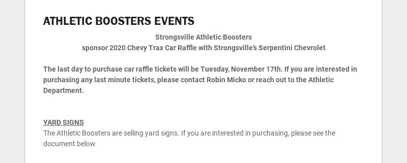 ATHLETIC BOOSTERS EVENTS Strongsville Athletic Boosters sponsor 2020 Chevy Trax Car Raffle with...
