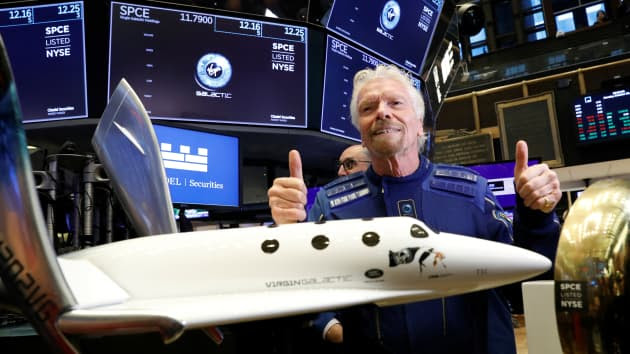 Sir Richard Branson is on the floor of the NYSE