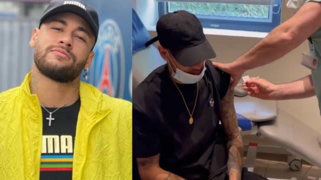 Na França, Neymar se vacina contra covid-19: 'Que felicidade'