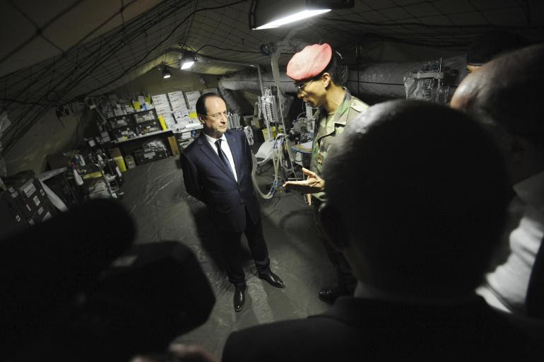 François Hollande, le 1er mars 2014, en                             Centrafrique.