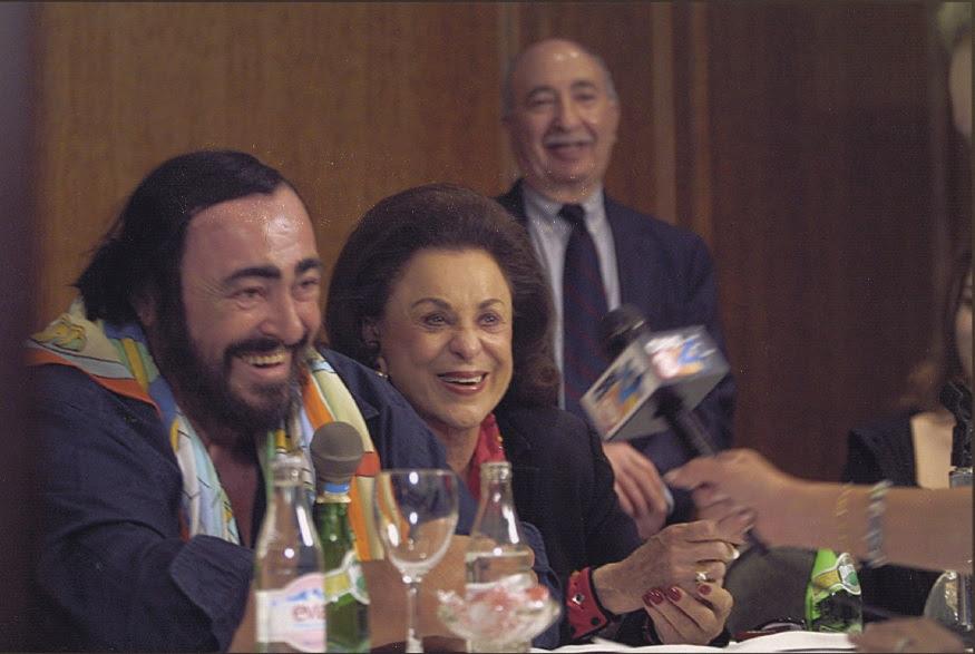 Luciano Pavarotti, Judy Drucker and Charlie