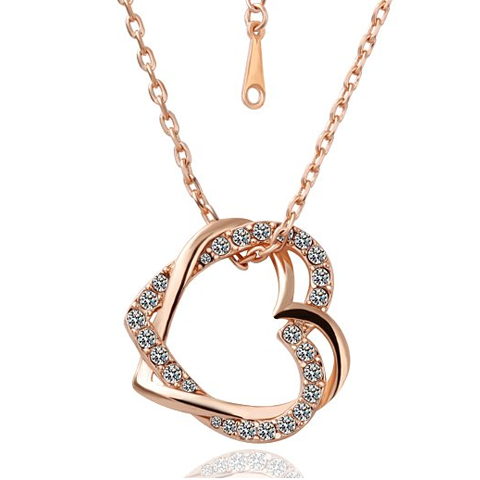 CRYSTAL DOUBLE HEART PENDANT -...