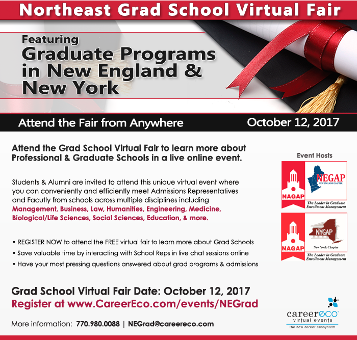 Northeast Virtual Grad School Fair - Register to learn about Grad School opportunities!