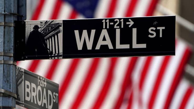 Wall Street sign against an American flag