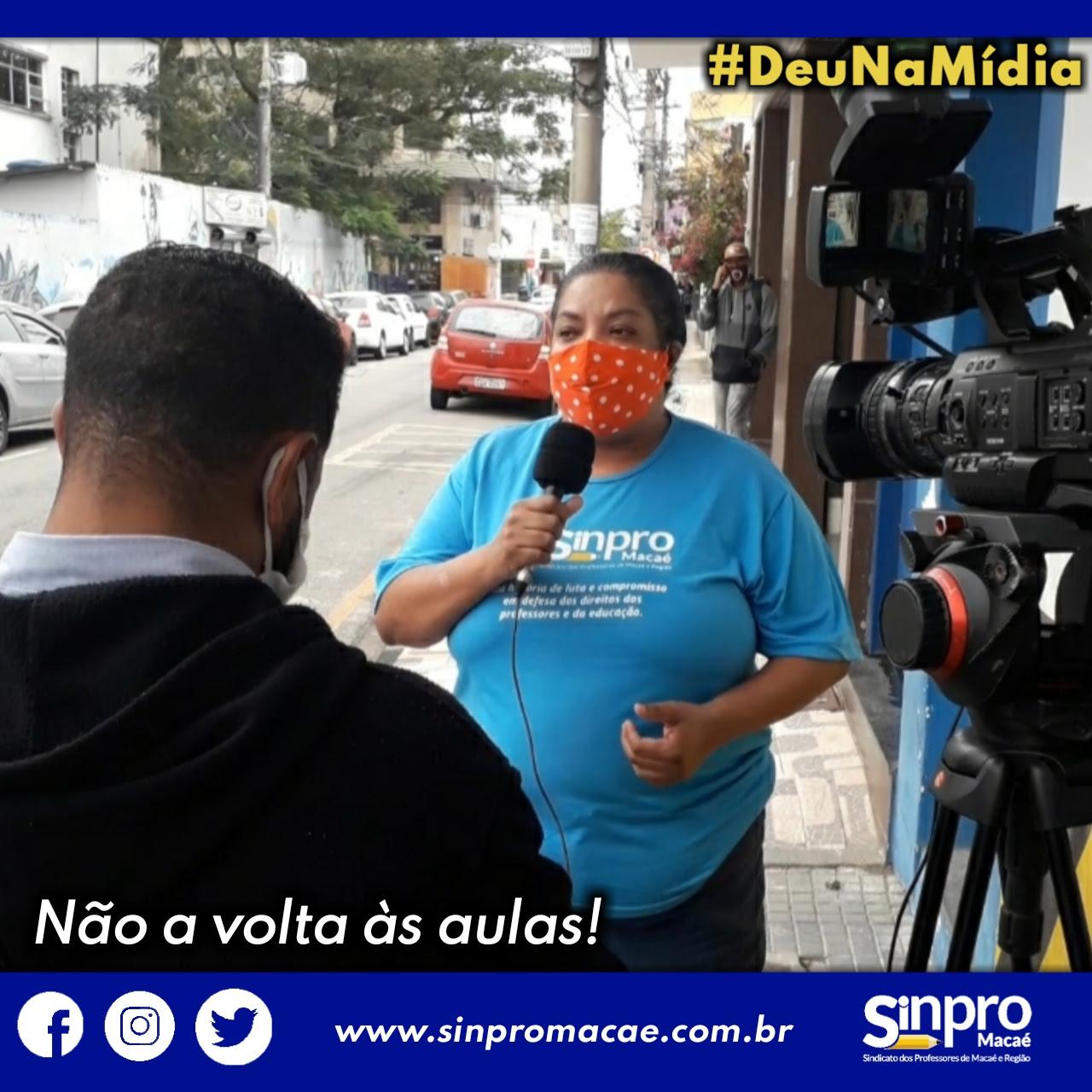 Professora Guilhermina Rocha, presidente do Sinpro Macaé e Região, em entrevista com a TV Record.