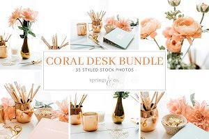 Coral Desk Styled Stock Photo Bundle