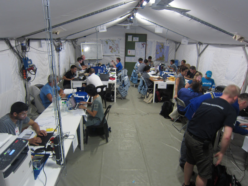 Aid workers gather together to coordinate relief efforts. Inveneo worked with over 20 major NGOs in the past few months.