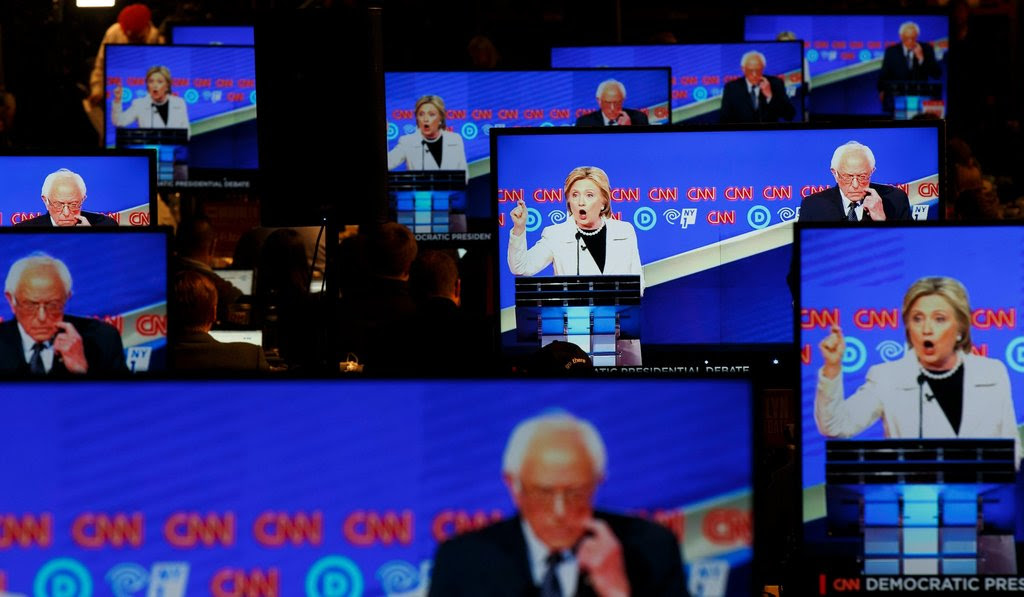Hillary Clinton and Senator Bernie Sanders of Vermont in the Democratic debate in Brooklyn, N.Y., on Thursday.