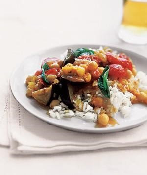 Curried Eggplant with Tomatoes & Basil