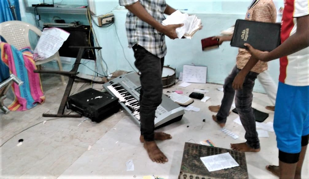 Hindu extremists damaged property at a church in Eraniel, Tamil Nadu state, India. (Morning Star News)