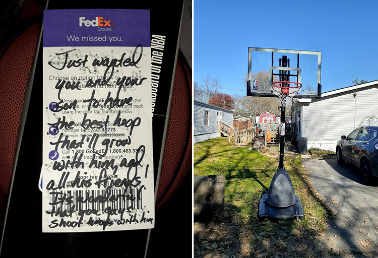 FedEx driver's note left on a boy's surprise basketball hoop