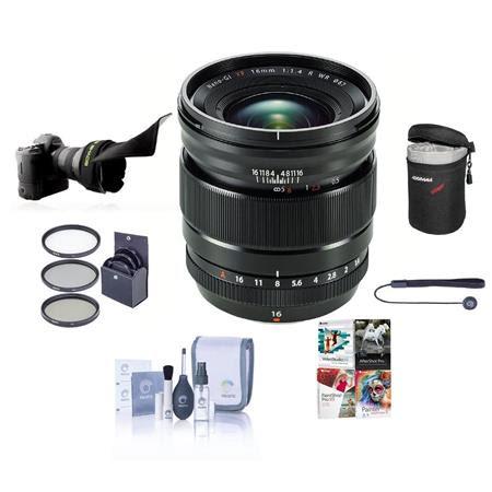 XF 16mm F1.4 R (Weather Resistant) Lens - Bundle w/67mm Filter Kit, Lens Case, Flex Shade,