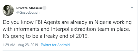 Man claims FBI Agents are already in Nigeria working with informants and Interpol extradition team after arrest of 77 Nigerians for fraud